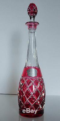Ancienne Carafe En Cristal Double Couleur Taille Val St Lambert Signe