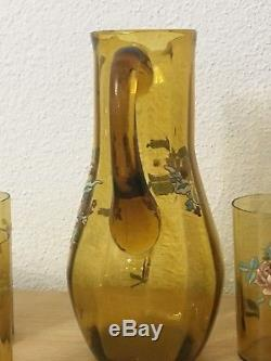 Ancienne Carafe Et Verre Cristal A Facette Orangeade Émaillé Legras, gallé