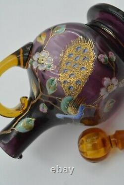 Ancienne Carafe Legras A Decor De Paon Art Nouveau