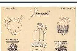 Ancienne Carafe Plat Whisky En Cristal Taille Catalogue 1933 Baccarat Signe