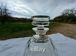 Ancienne Carafe a Whisky en Cristal a pans coupés Col Argent Minerve Baccarat