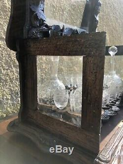 Ancienne Cave A Liqueur Foret Noire Carafe Verre Cristal