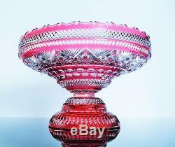 Ancienne Coupe Fruit A Pied Cristal Couleur Taille Baccarat Avant 1900