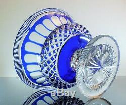 Ancienne Coupe Fruit En Pied Forme Medici Taille Diamant Baccarat 1900 Art Déco