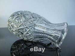 Ancienne Cruche Broc Carafe Cristal Massif Taille Modelé Lagny Baccarat