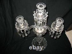 Ancienne Girandole chandelier cristal de BACCARAT modèle Bambou trois lumières