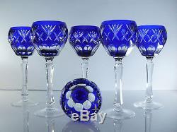 Ancienne Grand 6 Verres A Vin Cristal Couler Doble Couche Bleu Boheme Nachtmann