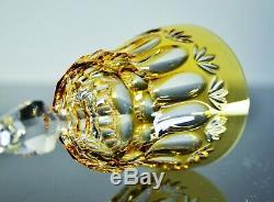 Ancienne Grand 6 Verres A Vin Cristal Double Couleur Taille Bavaria Bohème