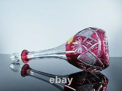 Ancienne Grand Carafe Cristal Couleur Taille Berncastel Val St Lambert Signe