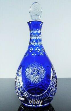 Ancienne Grand Carafe Cristal Double Couleur Taille Boheme Val St Lambert