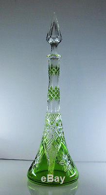 Ancienne Grand Carafe En Cristal Couleur Vert Double Couche Val St Lambert