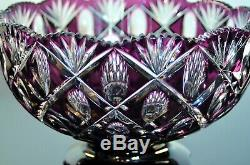 Ancienne Grand Coupe Saladier Cristal Couleur Violet Taille Val St Lambert