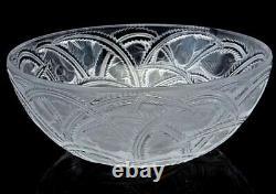 Ancienne Grand Coupe Saladier Cristal Moule Satine Modele Pinsons Lalique Signe