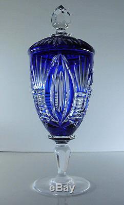 Ancienne Grand Drageoir Bonbonniere Cristal Couleur Double Val St Lambert