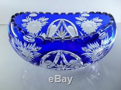 Ancienne Grand Jardiniere Coupe Cristal Couleur Bleu Taille Grave St Louis
