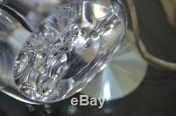 Ancienne Grand Pied De Lampe En Cristal Massif Schneider France Signe