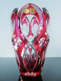 Ancienne Grand Vase Cristal Double Couche Couleur Rose Taille Nachtmann Bohème