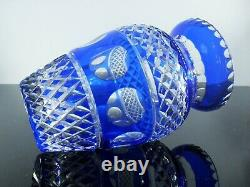 Ancienne Grand Vase Cristal Double Couleur Bleu Massif Taille St Louis Boheme