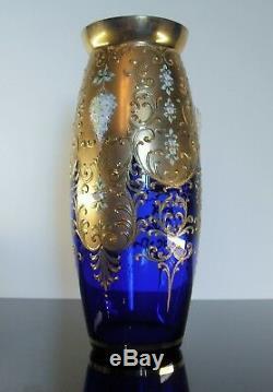 Ancienne Grand Vase En Cristal Couleur Bleu Émaille Or Murano