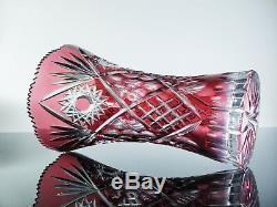 Ancienne Grand Vase En Cristal Couleur Double Couche Bohème Baccarat