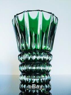 Ancienne Grand Vase En Cristal Couleur Vert Massif Taille St Louis Signe