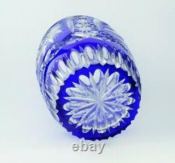 Ancienne Grand Vase En Cristal Double Couche Couleur Bleu Taille Bohème 25cm