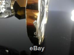 Ancienne Grand Vase En Cristal Émaillé Double Couleur Mozer Boheme