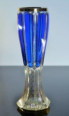 Ancienne Grand Vase En Cristal Émaillé Double Couleur Murano Boheme