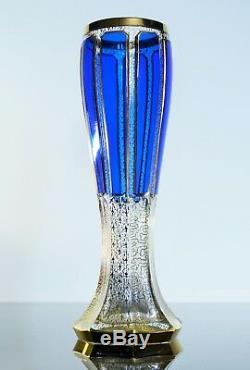 Ancienne Grand Vase En Cristal Émaillé Double Couleur Murano Mozer
