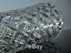 Ancienne Grand Vase En Cristal Souffle Taille Diamant St Louis Signe