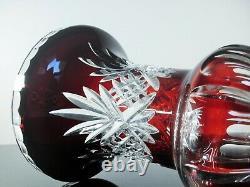 Ancienne Grand Vase Medici Cristal Double Couche Couleur Rouge Bohème St Louis
