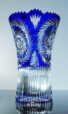 Ancienne Grand XXL Vase Cristal Massif Couleur Double Couche Taile Boheme