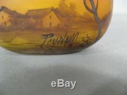 Ancienne Jardinière Miniature Verre Marmoréen Signée Peynaud Vase Ecole De Nancy