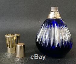 Ancienne Lampe Berger en cristal bleu dans le goût de Saint-Louis