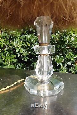 Ancienne Lampe Dans Le Gout D'adnet Pied En Cristal Abat Jour En Plumes