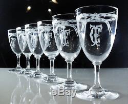 Ancienne Lot 6 Verres A Vin Cristal Grave L'acide Baccarat Monogramme 1906