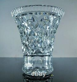 Ancienne Massif Vase En Cristal Souffle Taille Diamant Main Val St Lambert Signe