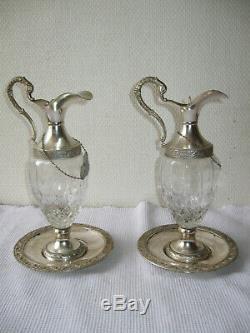 Ancienne Paire D'aiguières Carafes A Vin En Verre Taillé Et Métal Argenté