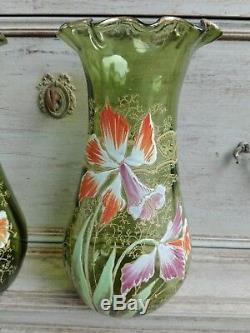 Ancienne Paire De Vases Émaillés Décor Orchidées Legras Montjoye 1900