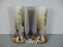 Ancienne Paire De Vases Style Art Nouveau Epoque 1900 Signés Legras Décor Forêt