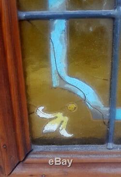 Ancienne Paire Vitraux Vitrail Art Nouveau Peint Emaille Iris Legras Majorelle