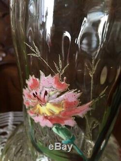 Ancienne Paire de vases émaillés décors fleurs gros modèles