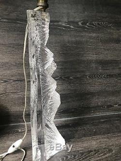 Ancienne Rare Lampe Moderniste Cristal Taille Daum 1970 Era Knoll Deco