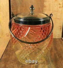 Ancienne Seau à Biscuits en Cristal de BACCARAT Serpentine Amberina Art Nouveau