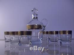 Ancienne Service Carafe Et 6 Gobelet En Cristal Boheme Theresienthal Signe