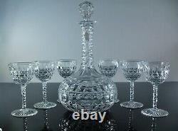 Ancienne Service Carafe Et 6 Verres En Cristal Masif Taille Baccarat Avant 1908