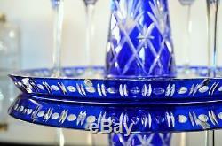 Ancienne Service Cristal Couleur Massenet St Louis 8 Verres Carafe Plateau