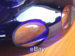 Ancienne Vase Cristal Baccarat St Louis XXL Bleu Cobalt Cristal De Boheme Signe
