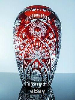 Ancienne Vase Cristal Couleur Double Couche Bordeaux Theresienthal Boheme