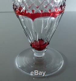 Ancienne Vase Cristal Couleur Rose Taille Double Couche Val St Lambert Signe